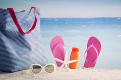 Beach accessories, summer vacation background Royalty Free Stock Image