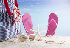 Beach accessories, summer vacation background Royalty Free Stock Images