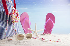 Beach accessories, summer vacation background Stock Photos