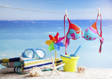 Beach accessories, summer vacation background Royalty Free Stock Photos