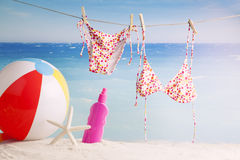 Beach accessories, summer vacation background Royalty Free Stock Photography