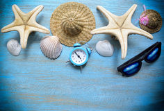 Beach accessories in the summer Royalty Free Stock Image