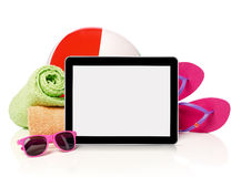 Beach accessories and tablet Stock Photos