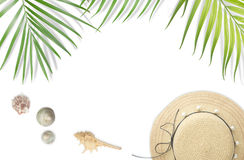 Beach accessories  with tropical leaves frame on white backgroun. D. Summer beach concept Stock Photos