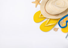 Beach accessories on white background, vacation and travel items Royalty Free Stock Photo