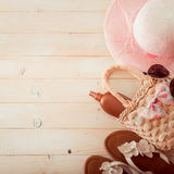 Beach accessories on a  wooden background Royalty Free Stock Photos