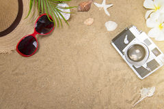 Beach accessories on wooden board,Straw hat,sunglasses on wood Stock Photography