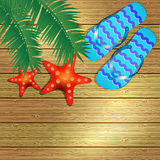 Beach accessories on wooden board. Royalty Free Stock Photo