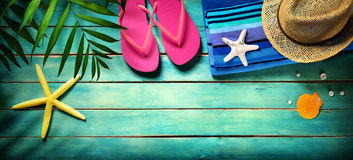 Beach accessories on wooden Royalty Free Stock Images