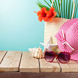 Beach accessories on wooden table Royalty Free Stock Photography