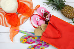 Beach accessory,hat,sunglasses,shoes,umbrella,beach lady hat and Royalty Free Stock Image