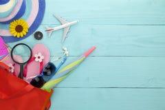 Beach accessory,sunglasses, flip-flops,umbrella, compass,magnify Stock Photos
