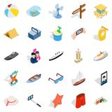 Beach activity icons set, isometric style. Beach activity icons set. Isometric set of 25 beach activity vector icons for web isolated on white background Royalty Free Stock Images