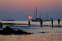 Beach Activity and Sunset Royalty Free Stock Image