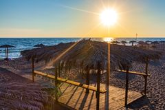 Beach on Ada Bojana, Ulcinj, Montenegro royalty free stock photography