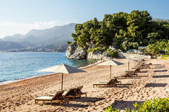 The beach adjacent to the island of Sveti Stefan in Montenegro Royalty Free Stock Photography