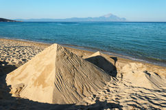 Beach at the Aegean Sea. Sand shapes at the Aegean Sea, Greece royalty free stock photo