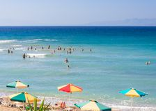 The beach on the Aegean Sea. Rhodes Island Stock Images