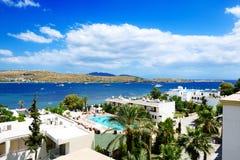 The beach on Aegean Turkish resort Royalty Free Stock Photo