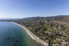 Beach Aerial Malibu California. Aerial view of pacific coast beach homes and in Malibu, California Stock Image