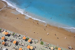 Beach aerial view. Beach in Turkey aerial view Royalty Free Stock Image
