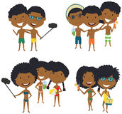 Beach African-American male and female characters make a selfie. Vector illustration. Happy cute girls and boys do group summer photos. Friendly children posing Royalty Free Stock Photo