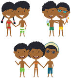 Beach African-American people standing and holding hands. Vector set of happy boys and girls. Collection of cute female and male characters. Smiling friends on Stock Photo