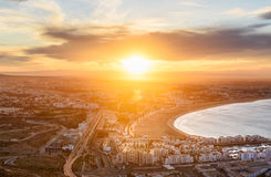 Beach in Agadir city at sunrise, Morocco Stock Image