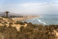 Beach in Agadir, Morocco. Scenery from beach in Agadir, Morocco Royalty Free Stock Photography