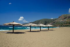 Beach in Agios Nikolaos. During April beach of Agios Nikolaos in Crete is almost empty royalty free stock images