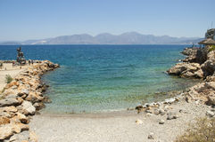 Beach in Agios Nikolaos, Crete island Royalty Free Stock Images