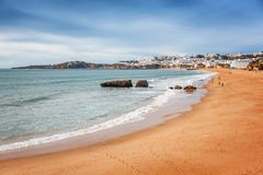 Beach Albufeira, Portugal, the beautiful coast of the Atlantic O. Cean, sandy beach, a popular destination for travel and holidays in Europe stock images