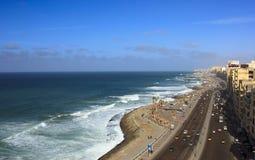 Beach of Alexandria. Alexandria beach of Egypt from high tower Stock Photo