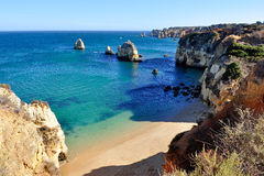 Beach in Algarve. High view of Pinhao Beach in Lagos, Algarve, Portugal Royalty Free Stock Photo