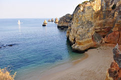 Beach in Algarve. High view of D.Ana Beach in Lagos, Algarve, Portugal close to the sunset Stock Photography