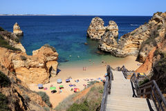 Beach at Algarve Coast, Portugal Royalty Free Stock Photos