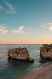 Beach in Algarve coast, summertime in Portugal. Sunset Stock Images