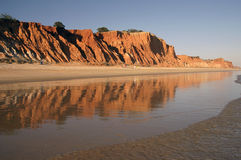 Beach in Algarve - Portugal. Reflection of the beach in Algarve Royalty Free Stock Photo
