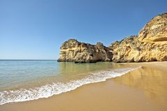 The beach in the Algarve in Portugal Stock Photos