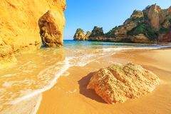Beach in Algarve region, Portugal. A view of a Praia da Rocha in Portimao, Algarve region, Portugal Stock Image