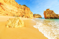 Beach in Algarve region, Portugal. A view of a Praia da Rocha in Portimao, Algarve region, Portugal Stock Photos