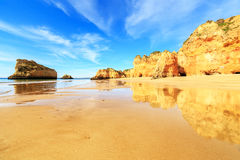 Beach in Algarve region, Portugal. A view of a Praia da Rocha in Portimao, Algarve region, Portugal Royalty Free Stock Photos