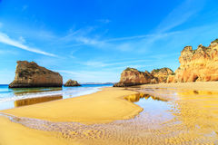 Beach in Algarve region, Portugal. A view of a Praia da Rocha in Portimao, Algarve region, Portugal Royalty Free Stock Photo