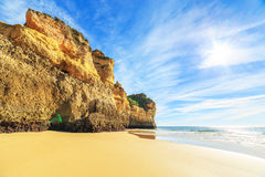 Beach in Algarve region, Portugal. A view of a Praia da Rocha in Portimao, Algarve region, Portugal Stock Photo