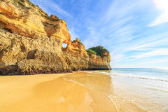 Beach in Algarve region, Portugal. A view of a Praia da Rocha in Portimao, Algarve region, Portugal Stock Images
