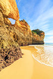 Beach in Algarve region, Portugal. A view of a Praia da Rocha in Portimao, Algarve region, Portugal Royalty Free Stock Photography