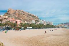 Beach of Alicante. And the Castle of Santa Barbara stock photo