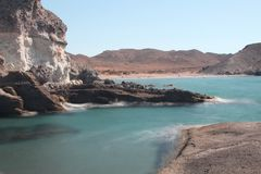 Beach along the coast of Cabo de gata, Nijar national park royalty free stock photo