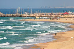 Beach along Mediterranean sea in Israel. Royalty Free Stock Photos