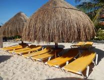 Beach amenities in a Caribbean resort Stock Photos